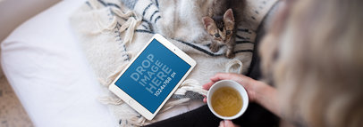 Woman in Bed with a Cup of Tea and her Cat iPad Mini Mockup a12809wide