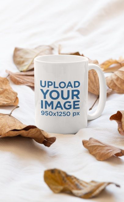 Mockup fo a Coffee Mug Surrounded By Fall Leaves 33923