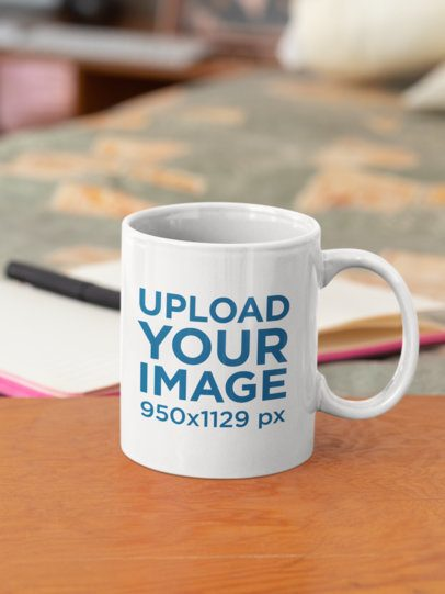 Mockup of a Customizable 11 oz Coffee Mug 33807