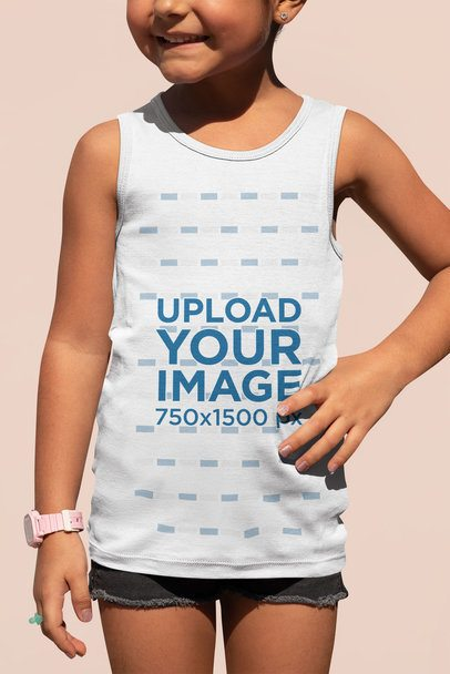 Mockup of a Little Girl Wearing a Tank Top at a Studio 33696