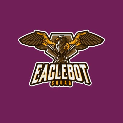 Gaming Logo Template Featuring a Robotic Eagle with Spread Wings 1034c-el1