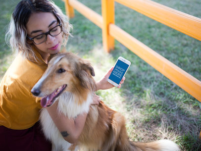 iPhone 7 Mockup of a Woman Hugging Her Dog 12795a
