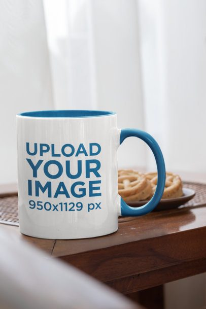 Mockup of a Coffee Mug with a Different Color Handle Featuring Some Cookies 33816