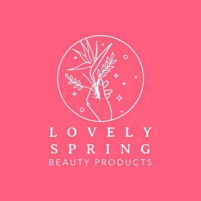 Beauty Brand Logo Template Featuring a Female Hand Holding a Flower 3193c
