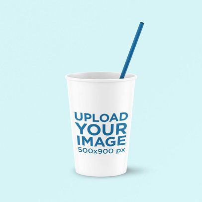Mockup of a Paper Cup with a Straw 3776-el1
