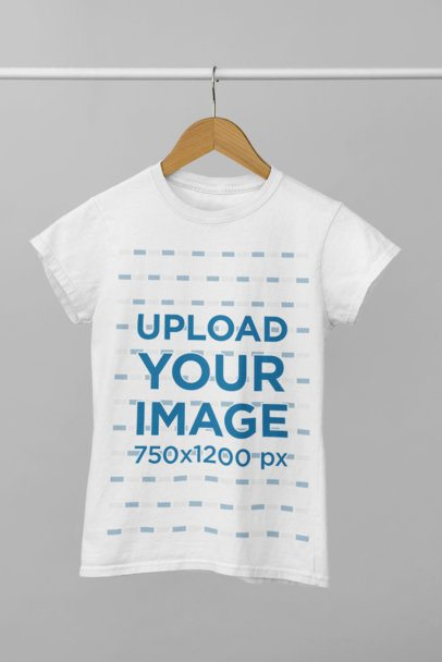 Minimal Mockup of a Customizable Tee Hanged From a Tube 34001