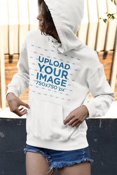 Mockup of a Young Woman Wearing a Pullover Hoodie 33747
