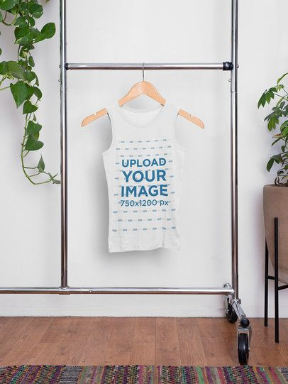 Mockup of a Hanging Tank Top Featuring Some Indoor Plants 33840