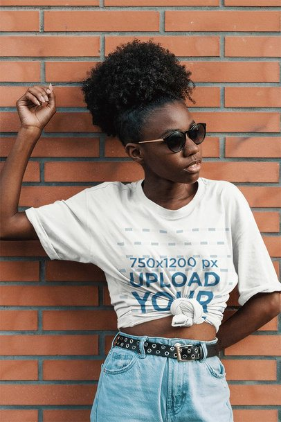 Mockup of a Kinky-Haired Woman Wearing a Knotted Tee 3853-el1