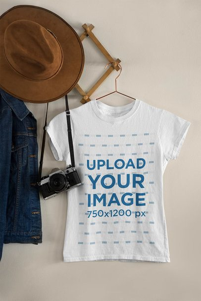 Mockup of a T-Shirt on a Wall Hanger 33735