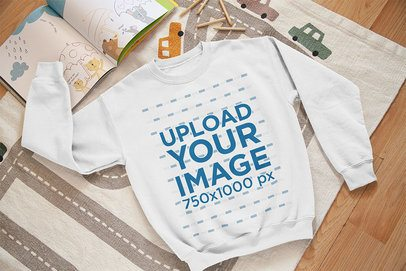 Mockup of a Kid's Sweatshirt in a Boy's Room 33996
