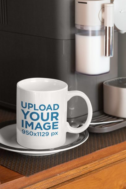 Mockup of an 11 oz Mug Placed by an Espresso Machine 33824