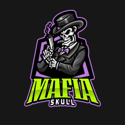 Gaming Logo Generator Featuring a Mafia Skeleton with a Gun 1210b-el1