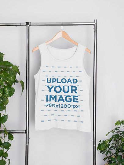 Mockup of a Tank Top on a Hanger Featuring Some Houseplants 33842