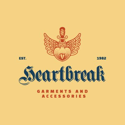 Clothing Brand Logo Generator Featuring a Tattoo-Inspired Heart Graphic 3088i