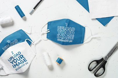 Mockup of Some Face Masks Featuring Sewing Tools 35213-r-el2