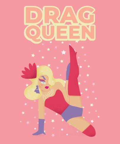 T-Shirt Design Template Featuring Drag Queen Cartoons 2482