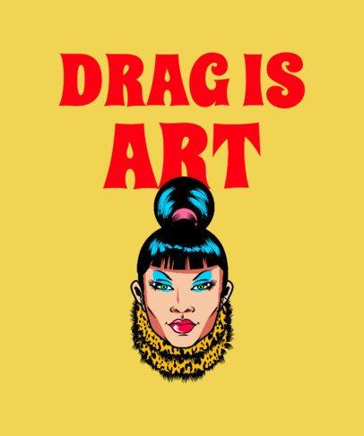 T-Shirt Design Maker Featuring a Drag Queen with Bangs 2480e