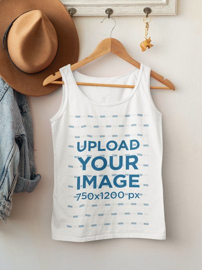 Mockup of a Scoop Neck Tank Top with a Wooden Hanger 33848