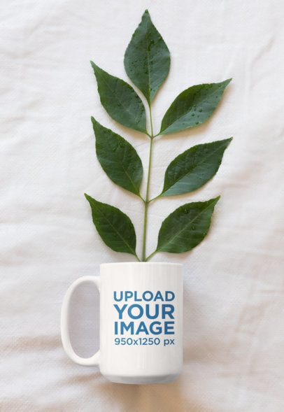 Mockup of a 15 oz Coffee Mug with a Plant Inside 33920