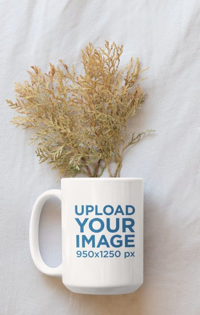 Mockup of a Coffee Mug with Some Plants Inside 33922