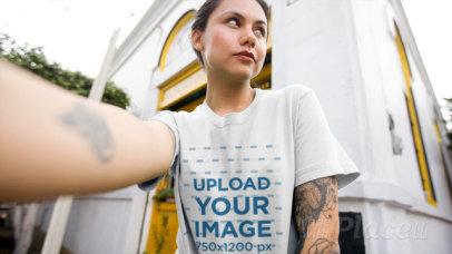 Selfie Video of a Tattooed Woman Wearing a Crewneck T-Shirt 17116