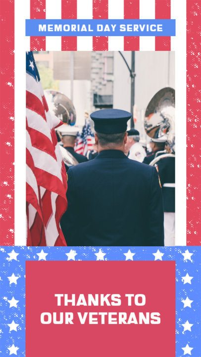 Patriotic Instagram Story Maker for Memorial Day With a Thankful Message 2483c