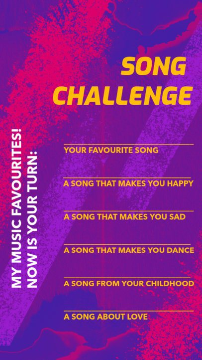 Music-Themed Instagram Story Design Maker for a Songs Challenge 2489l