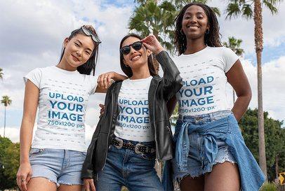 Mockup of Three Smiling Women Wearing T-Shirts 32050
