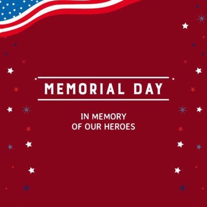 Instagram Post Template for a Memorial Day Event with an American Flag Graphic 2485a