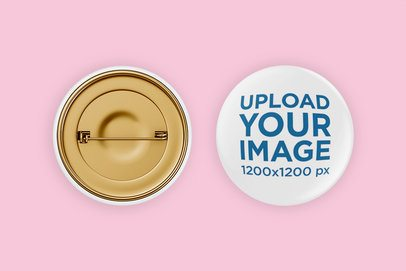 Front and Back View Mockup of a Round Button 3510-el1