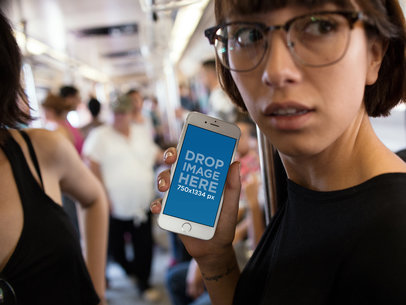 iPhone 6s in Portrait Position Mockup Featuring a Young Woman Riding the Underground Train a12959wide