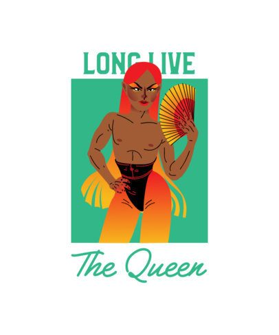T-Shirt Design Creator Featuring a Drag Queen with a Hand Fan 2481d