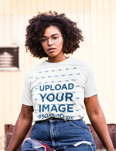 T-Shirt Mockup of a Serious Woman with Glasses 3841-el1