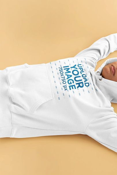 Hoodie Mockup of a Woman Lying on the Floor 33763