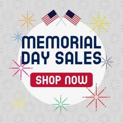 Banner Template Featuring a Promo for Memorial Day 2488a