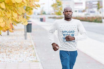 Mockup of a Man with a Sweatshirt Jogging in the City 34051-r-el2