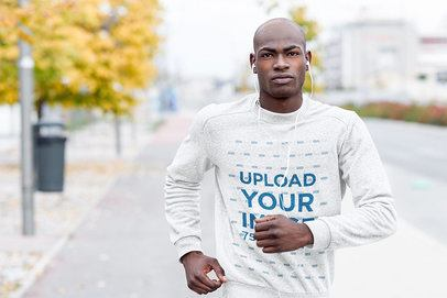 Crewneck Sweatshirt Mockup of a Man Jogging in the City 34038-r-el2