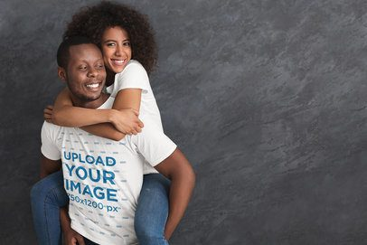 T-Shirt Mockup of a Man with His Girlfriend 34094-r-el2