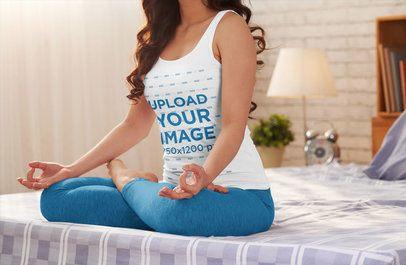 Tank Top Mockup of a Woman Meditating in Bed 34067-r-el2