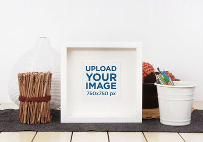 Mockup Featuring a Small Art Print Among Home Decoration Items 3957-el1