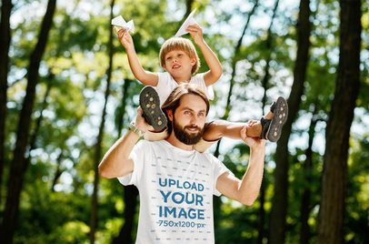 T-Shirt Mockup of a Man Playing with His Son on the Woods 34087-r-el2