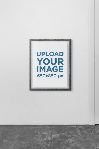 Mockup of an Art Print Frame Placed in a Plain Room 3951-el1