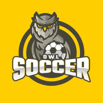 Sports Logo Template Featuring an Owl and a Soccer Ball 1298a-el1