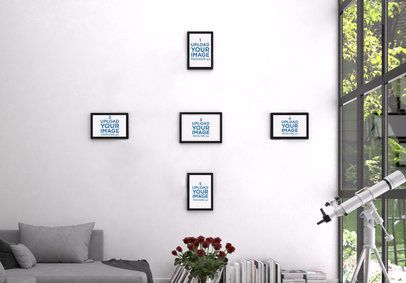 Mockup Featuring Five Small Art Prints Hanging by a Big Window 3923-el1