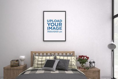 Mockup of an Art Print Hanging on a Bedroom's Wall 3925-el1