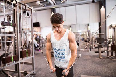 Tank Top Mockup of a Man at a Gym Doing Chest Cable Flyes 34055-r-el2