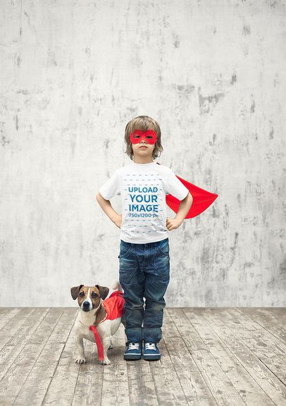 T-Shirt Mockup of a Boy with a Superhero Costume Posing with His Dog 34239-r-el2
