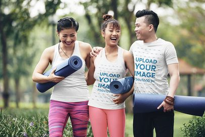 T-Shirt Mockup of Three Friends with Yoga Mattresses 34063-r-el2