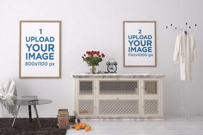 Mockup of Two Framed Art Prints Placed on a Modern Room's Wall 3931-el1